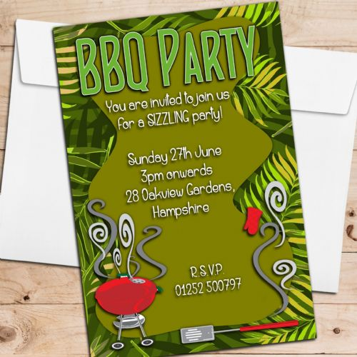 10 Personalised BBQ Barbeque Summer Garden Birthday Party Invitations N2
